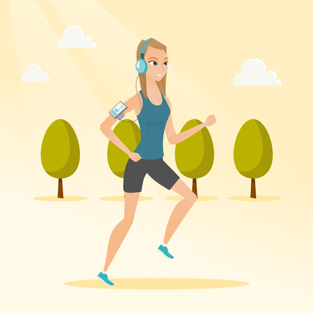 Caucasian woman running with earphones and armband for smartphone. Young woman using smartphone with armband to listen to music while running in the park. Vector cartoon illustration. Square layout.