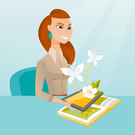 Young caucasian woman holding tablet computer above the book and looking at butterflies flying out from the device. Concept of augmented reality. Vector cartoon illustration. Square layout.