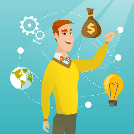 touch screen interface: Caucasian smiling businessman writing on a virtual screen. Young cheerful businessman drawing a business diagram on a virtual screen. Vector cartoon illustration. Square layout. Illustration