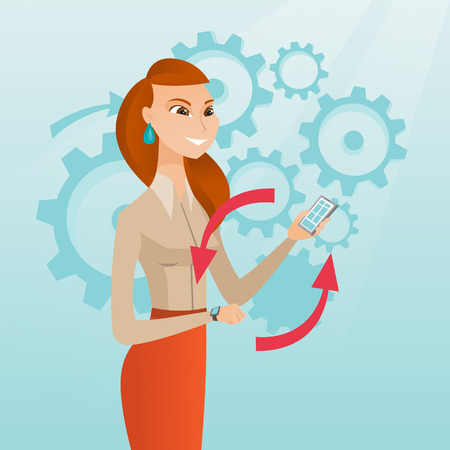 Young caucasian woman showing her smartphone and smart watch on the background of cogwheels. Concept of synchronization between smartwatch and smartphone. Vector cartoon illustration. Square layout. Illustration