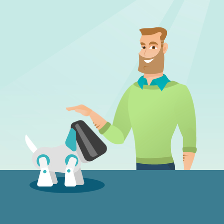 Happy young caucasian man playing with a robotic dog. Hipster man with beard standing near the table with a cyber dog on it. Man stroking a robotic dog. Vector cartoon illustration. Square layout.