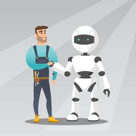 Young caucasian man and modern robot shaking hands. Hipster man handshaking with robot. Concept of cooperation between artificial intelligence and human. Vector cartoon illustration. Square layout.