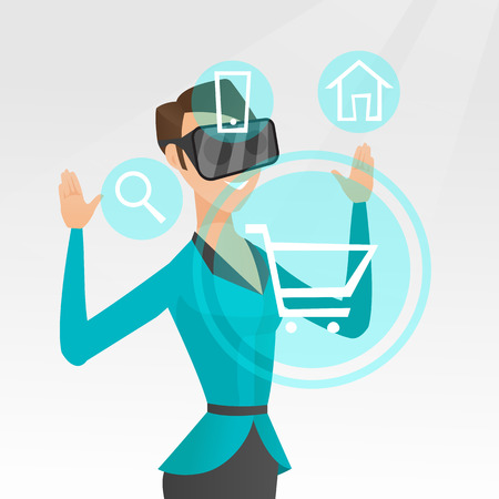 Young caucasian business woman wearing virtual reality headset and looking at icon of shopping trolley. Concept of virtual reality and online shopping. Vector cartoon illustration. Square layout.