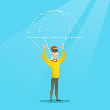 Caucasian man wearing virtual reality glasses and flying with a parachute. Young excited man in vr headset having fun while flying in virtual reality. Vector cartoon illustration. Square layout. Illustration
