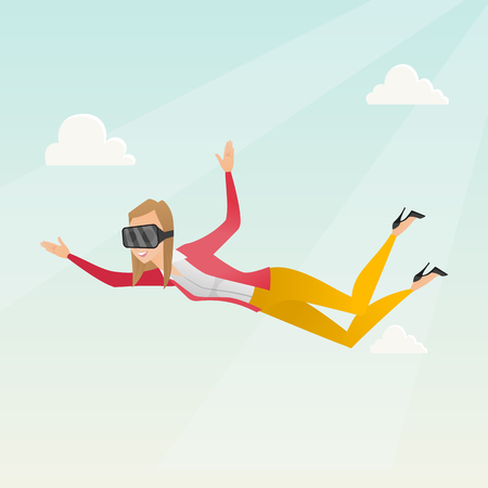 virtual reality simulator: Business woman in vr headset flying in the sky.