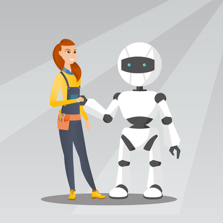 Young caucasian woman handshaking with robot. 矢量图像
