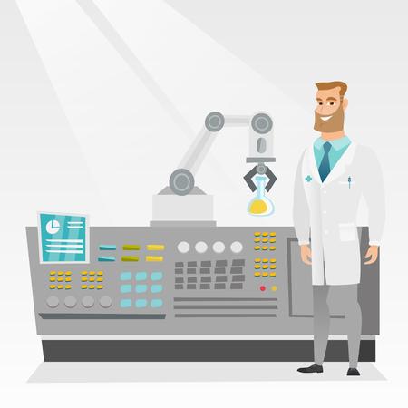 conducting: Scientist and robotic arm conducting experiments.