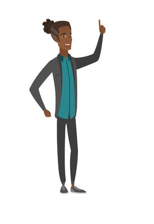 forefinger: African businessman pointing his forefinger up. Illustration