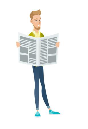 Young caucasian businessman reading newspaper. Illustration