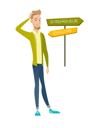 Confused caucasian man choosing career pathway. Illusztráció