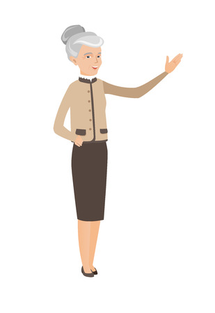 Caucasian business woman with outstretched hand.