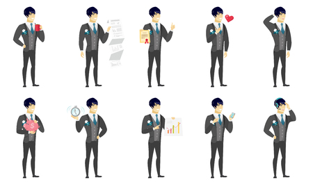 Asian bridegroom holding a cup of coffee. Full length of young bridegroom drinking coffee. Happy bridegroom with a cup of coffee. Set of vector flat design illustrations isolated on white background. Illustration