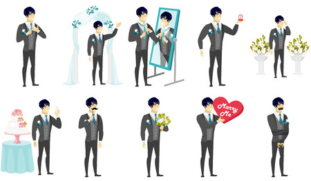 Groom and wedding scenes set. Asian groom making marriage proposal, preparing before the wedding, saying a toast, holding bouquet. Set of vector flat design illustrations isolated on white background. Illustration