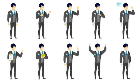 Asian bridegroom indicating with two fingers to the side. Full length of cheerful bridegroom pointing with two fingers to the side. Set of vector flat design illustrations isolated on white background Illustration