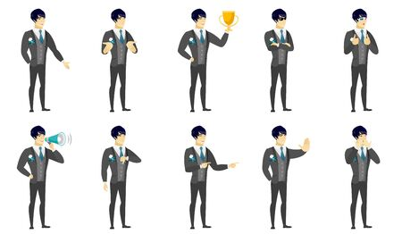 Asian groom holding a golden trophy. Full length of young bridegroom with a trophy. Happy bridegroom celebrating with a trophy. Set of vector flat design illustrations isolated on white background.