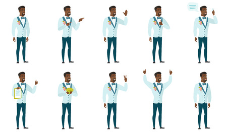 Young african-american confident groom. Full length of smiling confident groom. Groom standing in a pose signifying confidence. Set of vector flat design illustrations isolated on white background. Vectores