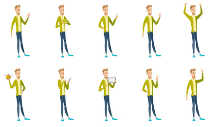 Young caucasian businessman set. Businessman waving hand, giving thumb up, showing victory gesture, ok sign, pointing finger up. Set of vector flat design illustrations isolated on white background.