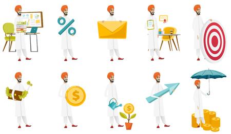 insure: Muslim businessman vector illustrations set. Illustration