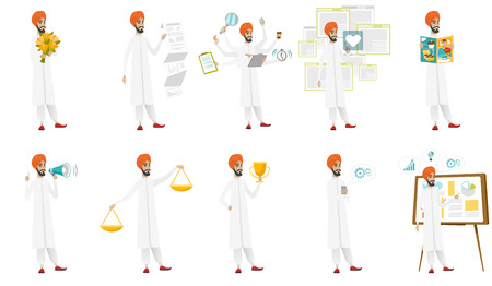 scale: Muslim businessman vector illustrations set. Illustration