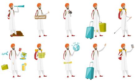 Muslim traveler vector illustrations set. Illustration