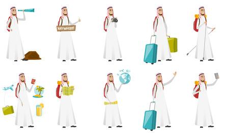 Young muslim traveler man vector illustrations set