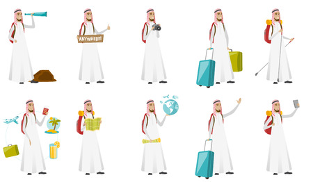 Young muslim traveler man vector illustrations set