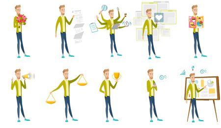 scale: Caucasian businessman vector illustrations set. Stock Photo
