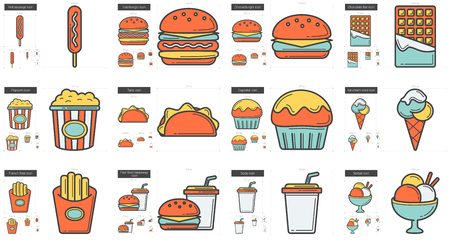 Junk food vector line icon set isolated on white background. Junk food line icon set for infographic, website or app. Scalable icon designed on a grid system. Illustration