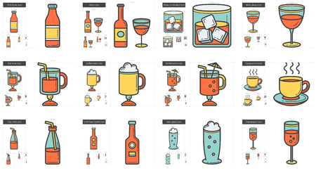 Drinks vector line icon set isolated on white background. Drinks line icon set for infographic, website or app. Scalable icon designed on a grid system. Illustration