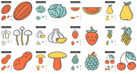 Healthy food vector line icon set isolated on white background. Healthy food line icon set for infographic, website or app. Scalable icon designed on a grid system. Ilustração