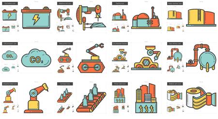 Ensemble de vecteur d'icônes de la ligne industrielle isolé sur fond blanc. Icônes de ligne industrielle définies pour infographie, site Web ou application. Icônes évolutives conçues sur un système de grille.