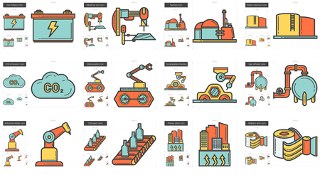 Vector set of industrial line icons isolated on white background. Industrial line icons set for infographic, website or app. Scalable icons designed on a grid system.