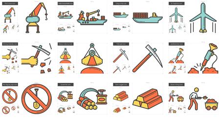 Industry line icon set.