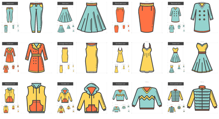 Clothes line icon set. 矢量图像