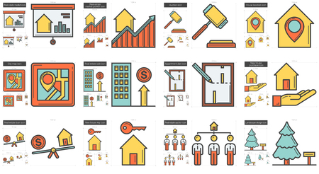 rate: Real estate line icon set.