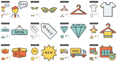 hangers: Shopping line icon set. Illustration