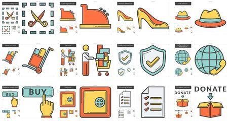 Shopping line icon set. Stock fotó - 82444192