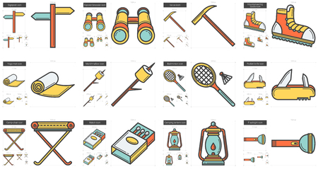 Travel and holiday line icon set.