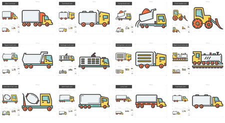 delivery truck: Transportation line icon set.