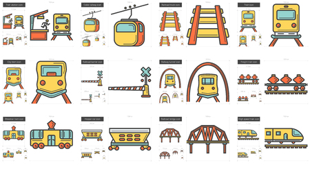 Vector set of transportation line icons isolated on white background. Transportation line icons set for infographic, website or app. Scalable icons designed on a grid system. Illustration