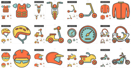 Vector set of transportation line icons isolated on white background. Transportation line icons set for infographic, website or app. Scalable icons designed on a grid system. Çizim