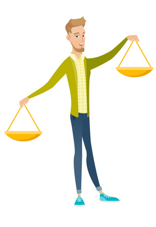 scale of justice: Caucasian businessman holding balance scale. Young businessman with a balance scale in hands trying to make a right decision in business. Vector flat design illustration isolated on white background.