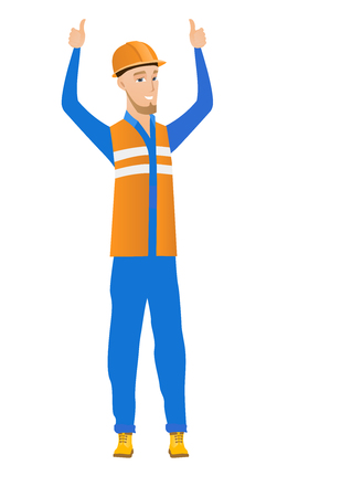 Successful caucasian builder in hard hat and workwear standing with raised arms up. Young builder celebrating success and giving thumbs up. Vector flat design illustration isolated on white background Vectores