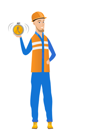 hard: Caucasian builder showing ringing alarm clock. Full length of young builder with alarm clock. Happy builder holding alarm clock. Vector flat design illustration isolated on white background. Illustration