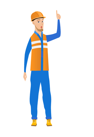 came: Caucasian builder with open mouth pointing finger up. Full length of young builder with open mouth came up with successful idea. Vector flat design illustration isolated on white background.