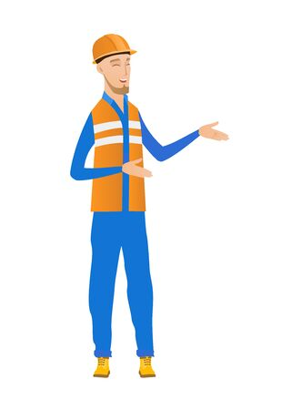 Caucasian builder laughing and gesticulating. Young builder gesticulating. Full length of cheerful builder gesticulating with his hands. Vector flat design illustration isolated on white background. Ilustração