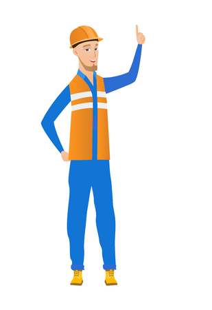 Full length of young caucasian builder in hard hat pointing his forefinger up. Excited builder with forefinger pointing up. Vector flat design illustration isolated on white background.