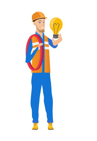 hard: Caucasian electrician holding idea lightbulb. Full length of young builder showing a bright lightbulb. Successful idea concept. Vector flat design illustration isolated on white background. Illustration