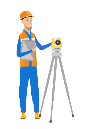 Caucasian surveyor builder holding clippboard and working with theodolite. Young surveyor standing near theodolite transit equipment. Vector flat design illustration isolated on white background. Illustration