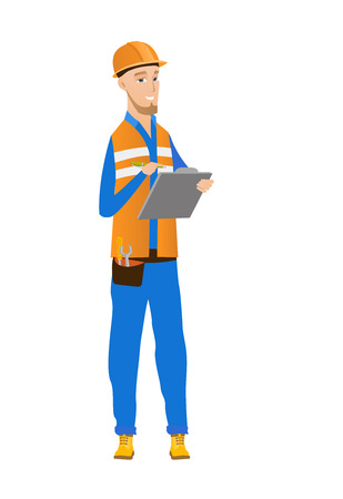 Caucasian building inspector making some notes in clipboard. Full length of young building inspector in uniform and hard hat at work. Vector flat design illustration isolated on white background. Illustration